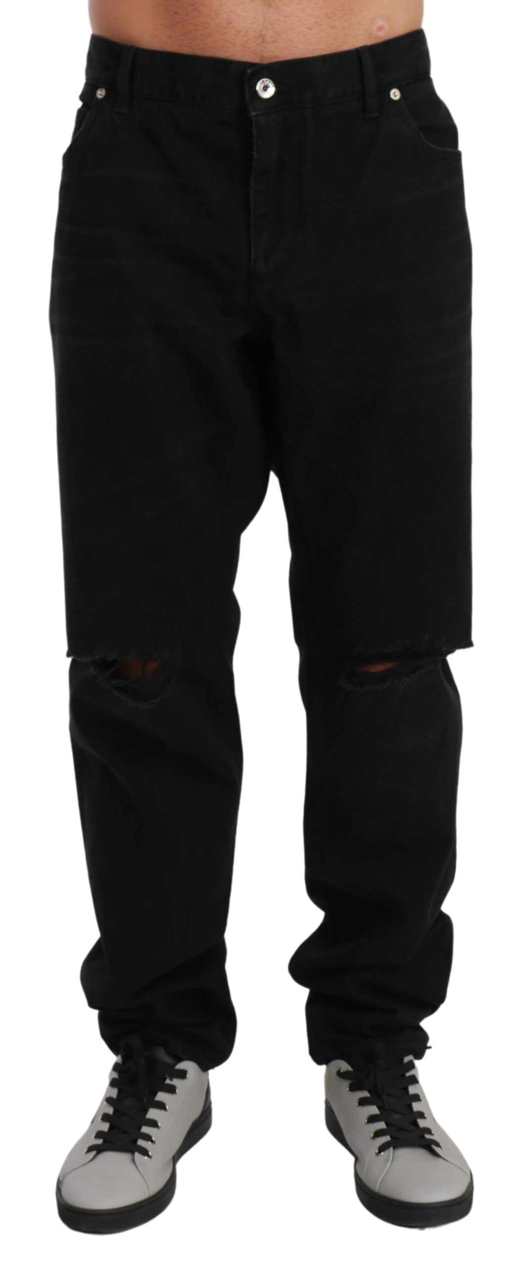 Dolce & Gabbana Men's Ripped Skinny Denim MARTINI Jeans Black PAN71008 - IT60 | 3XL