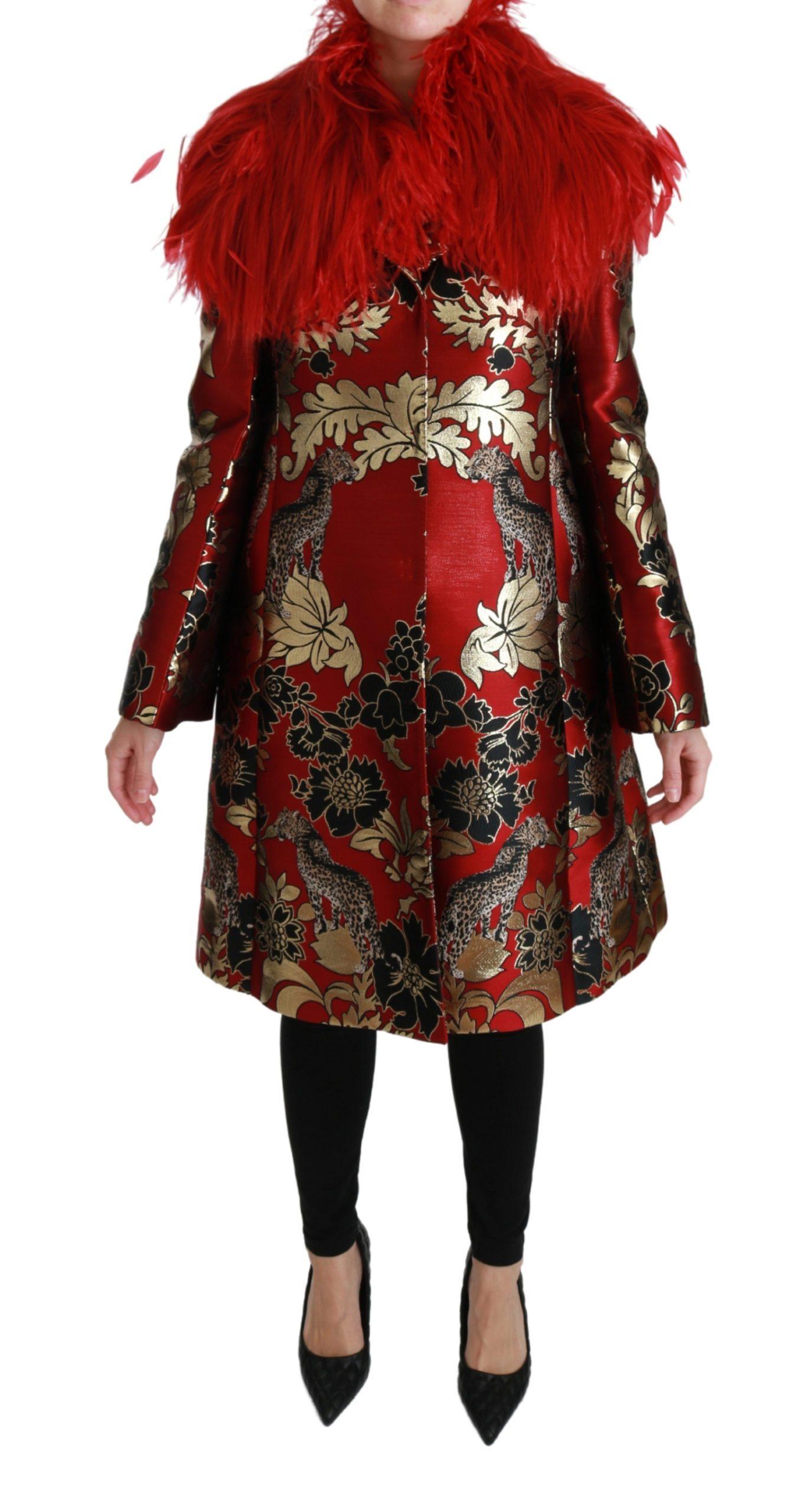 Dolce & Gabbana Women's Fur Floral Leopard Trenchcoat Jacket Red JKT2571 - IT40|S