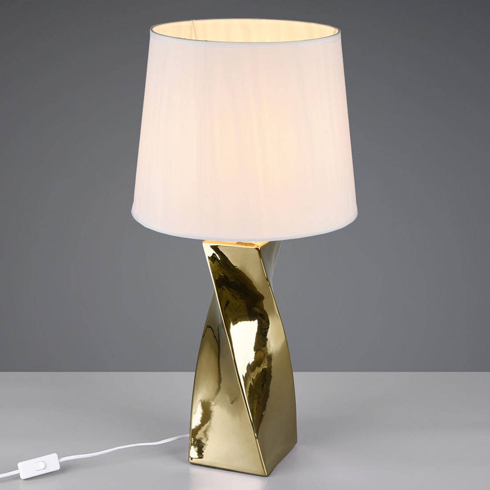 Pöytälamppu Abeba, Ø 34 cm, valkoinen-kulta