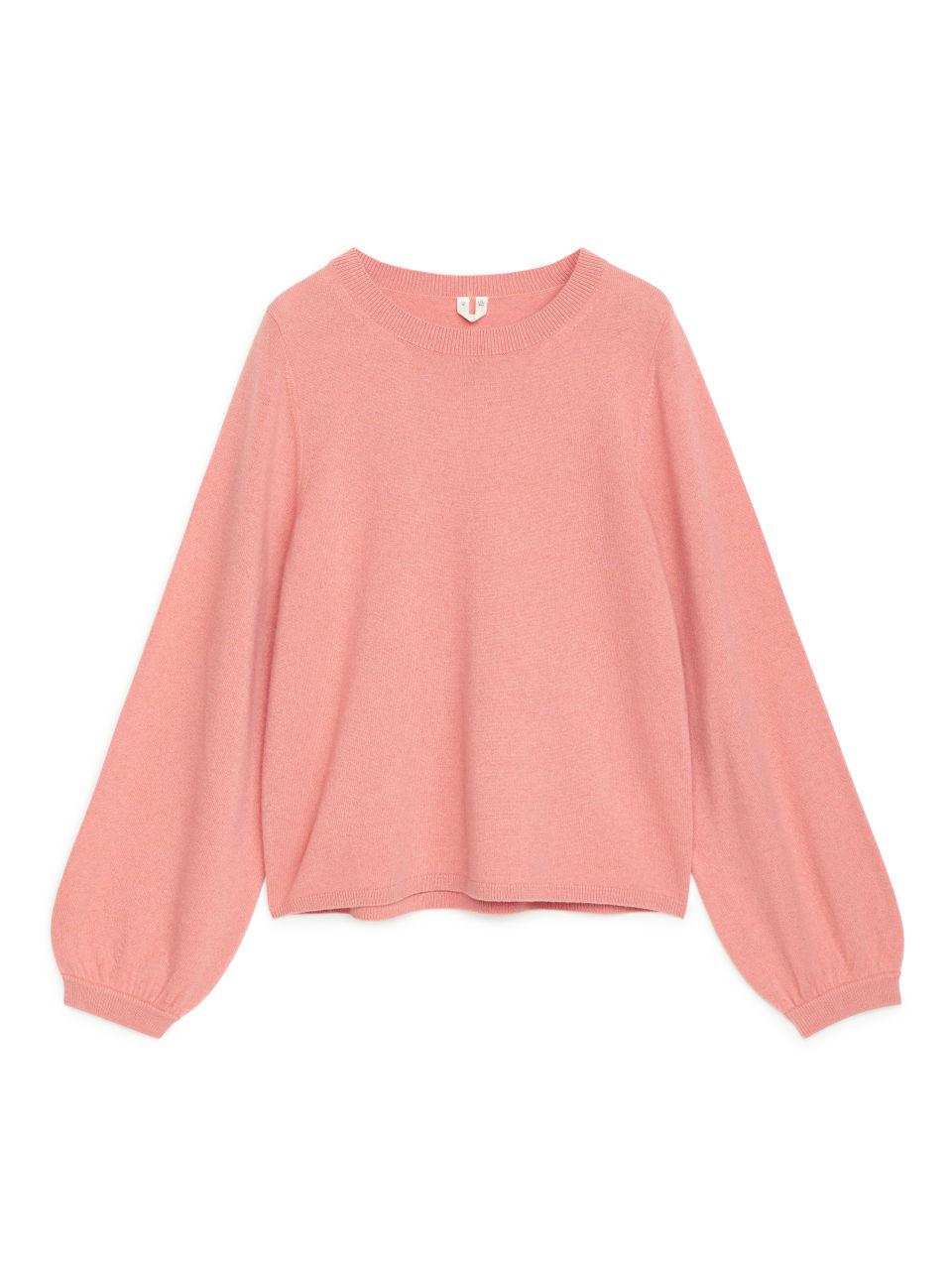 Bell Sleeve Cashmere Jumper - Pink