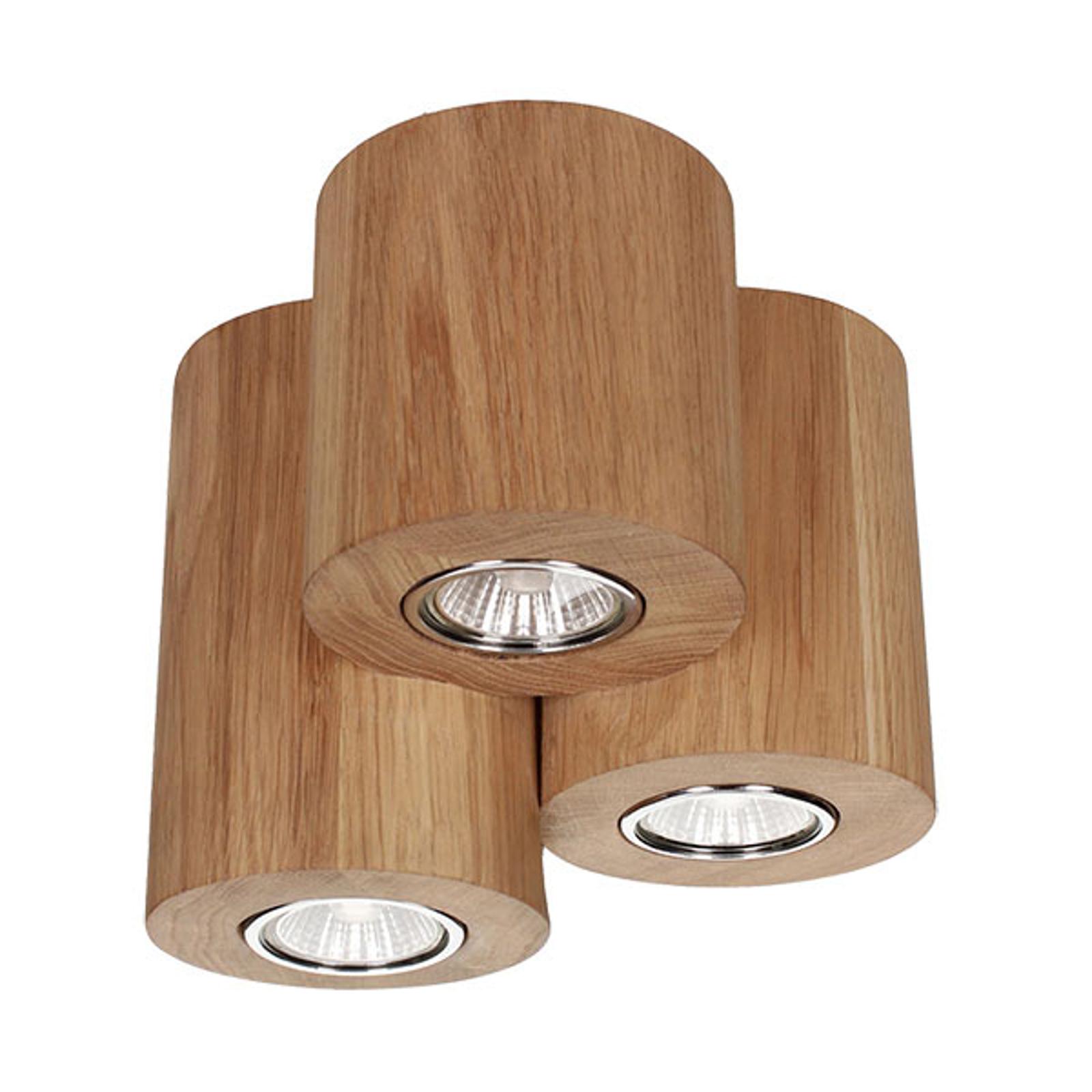 Kattovalaisin Wooddream 3-lamppuinen tammi pyöreä