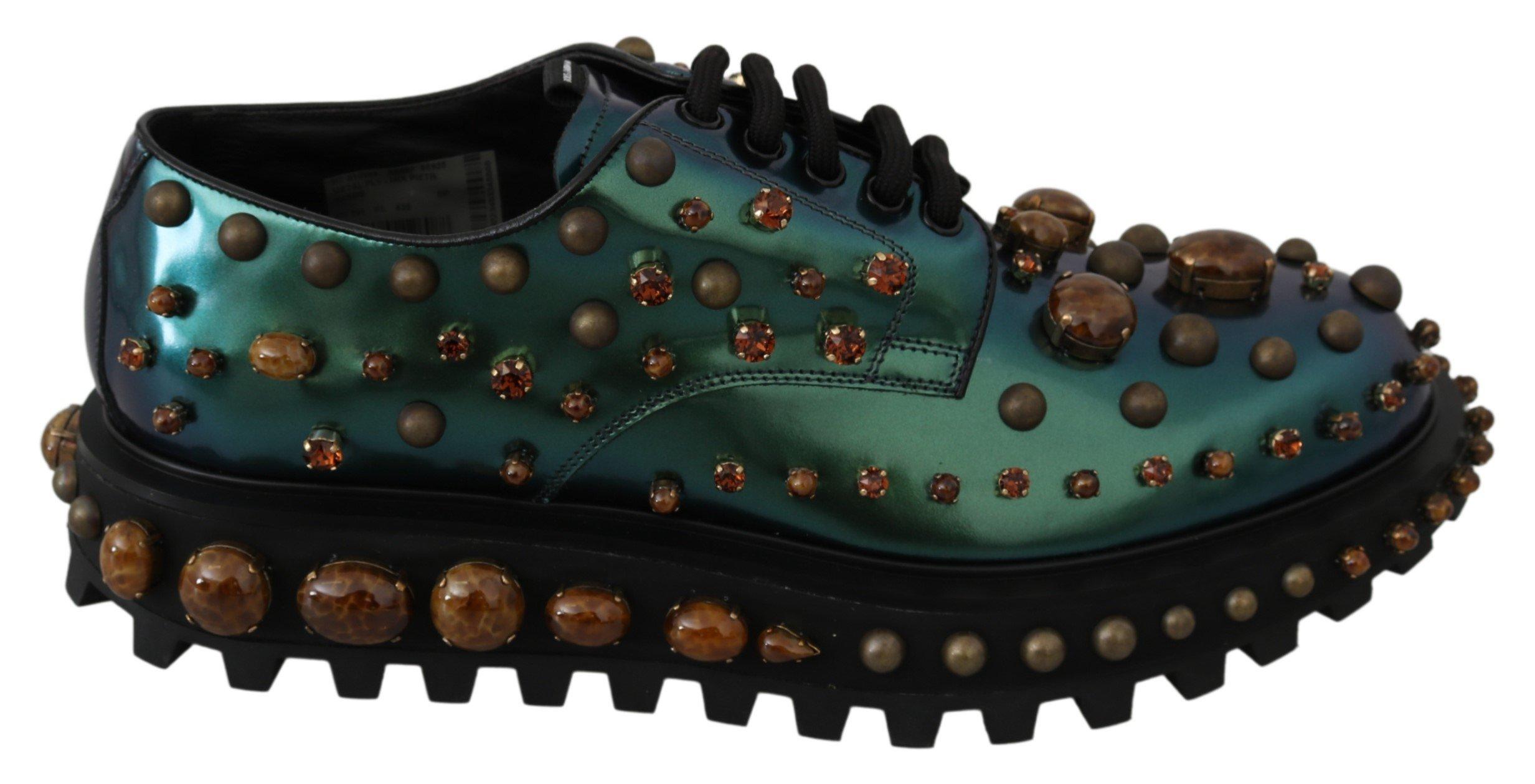 Dolce & Gabbana Men's Shiny Leather Crystals Derby Shoe Green MV3010 - EU43/US10