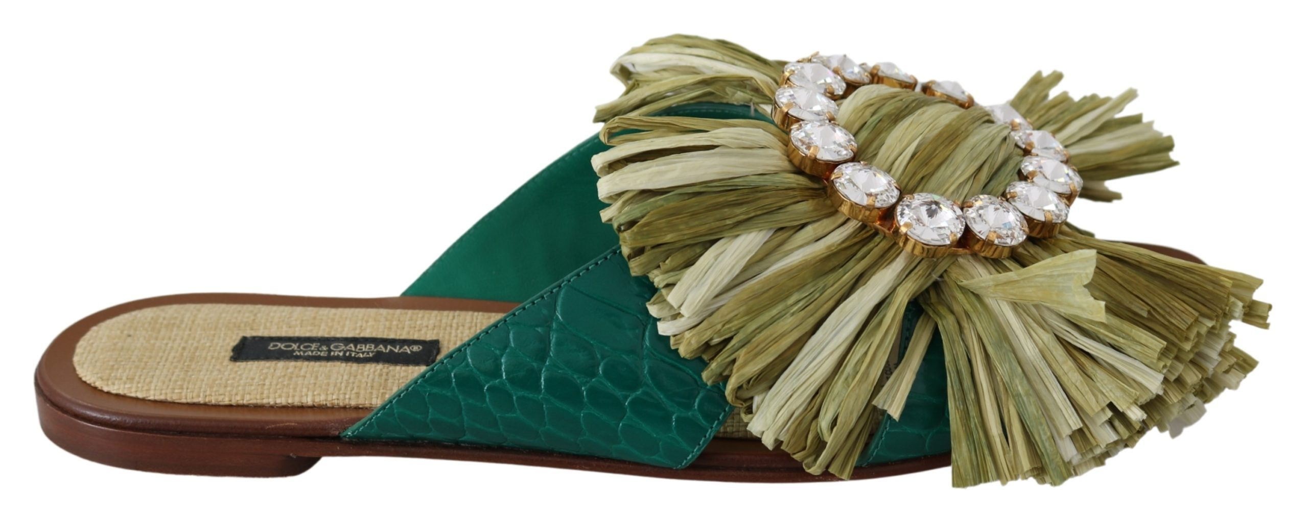 Green Leather Rafia Crystal Sandals Shoes - EU40/US9.5