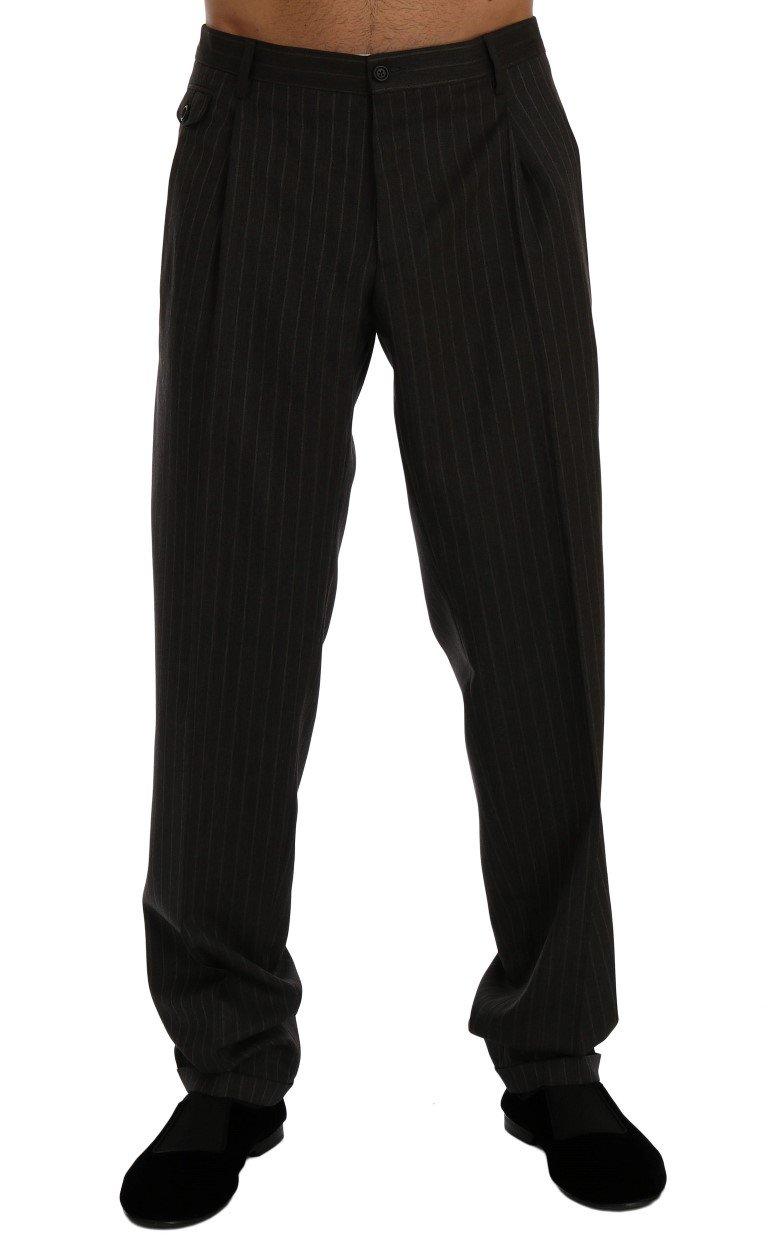 Dolce & Gabbana Men's Striped Wool Stretch Formal Pants Gray PAN60351 - IT54   XXL
