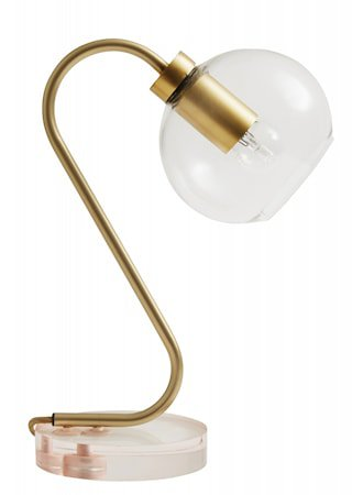 CANDY Bordlampe Glass Rosa / Messing