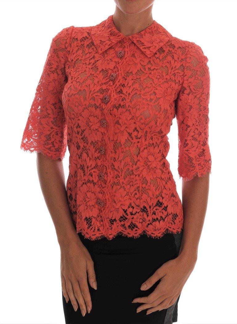 Dolce & Gabbana Women's Crystal Buttons Floral Top Orange TSH1436 - IT36|XXS