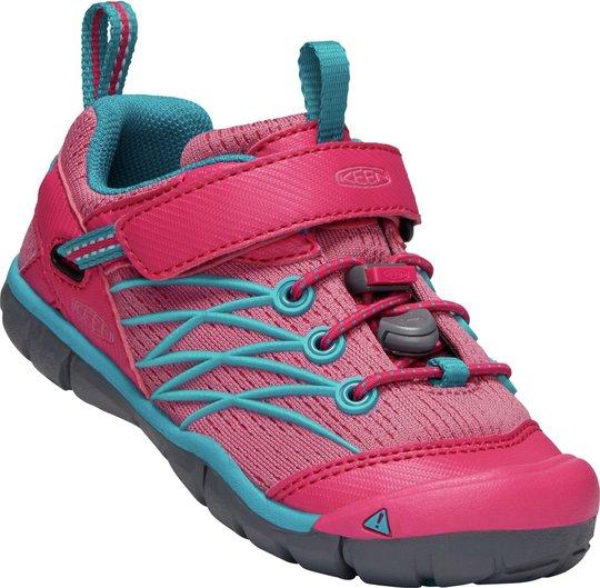 KEEN Chandler CNX Tots Sneaker, Bright Pink/Lake Green 19