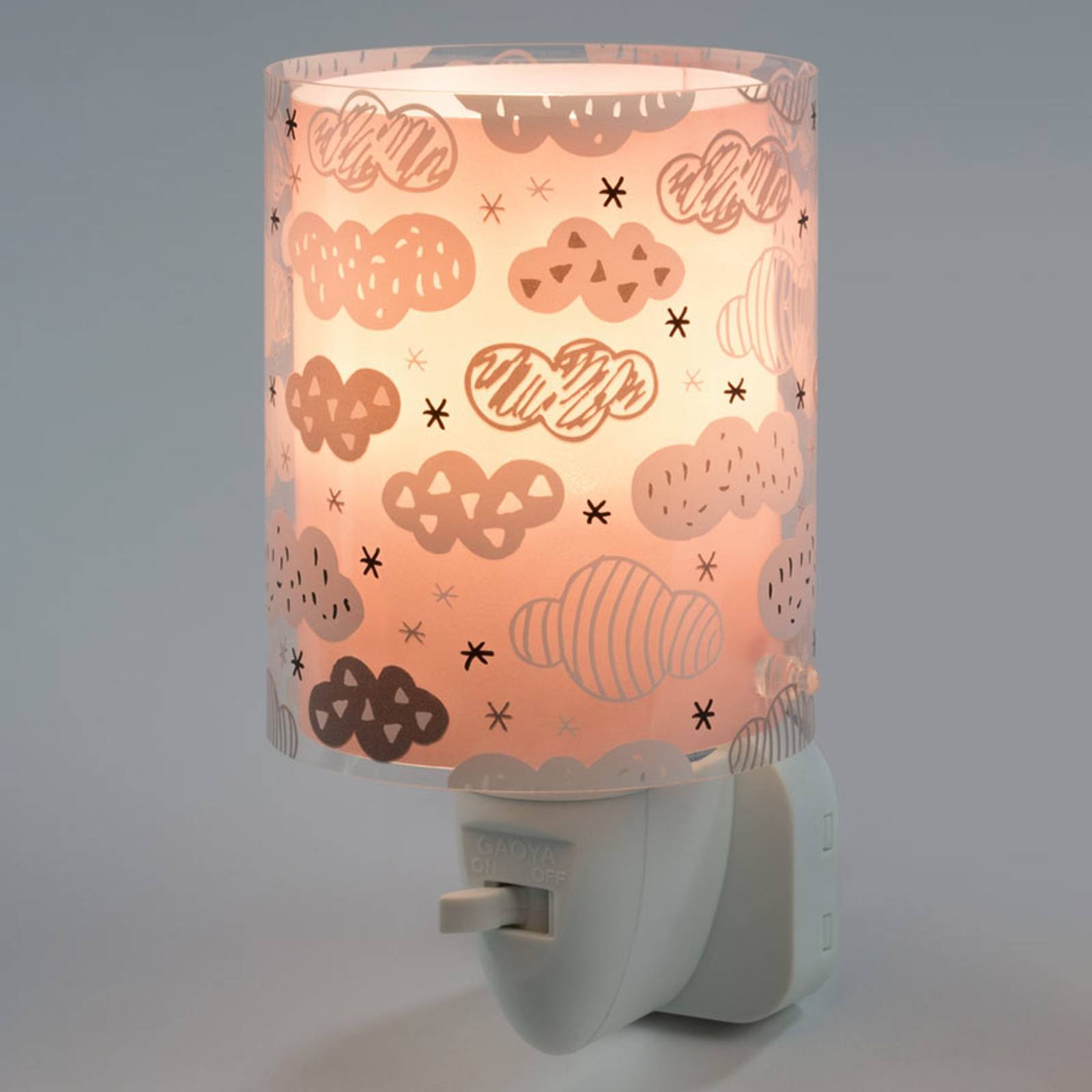 LED-yövalo Clouds, kytkin, vaaleanpunainen