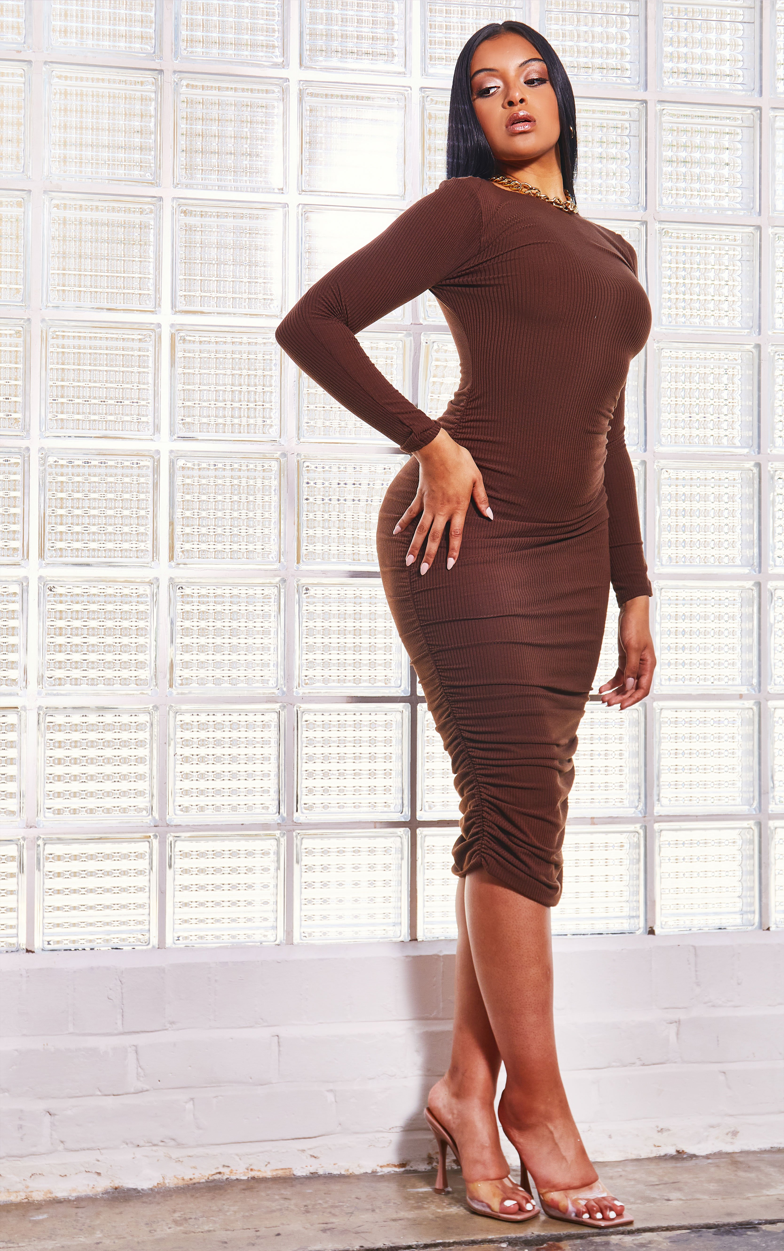 Valix Ribbed Gathered Dress - Chocolate / 6