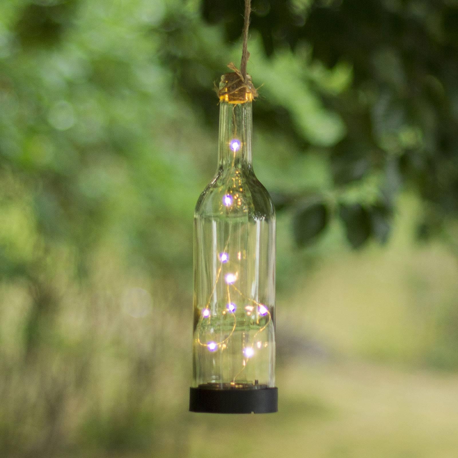 Aurinkokäyttöinen Bottle-LED-valaisin, läpinäkyvä