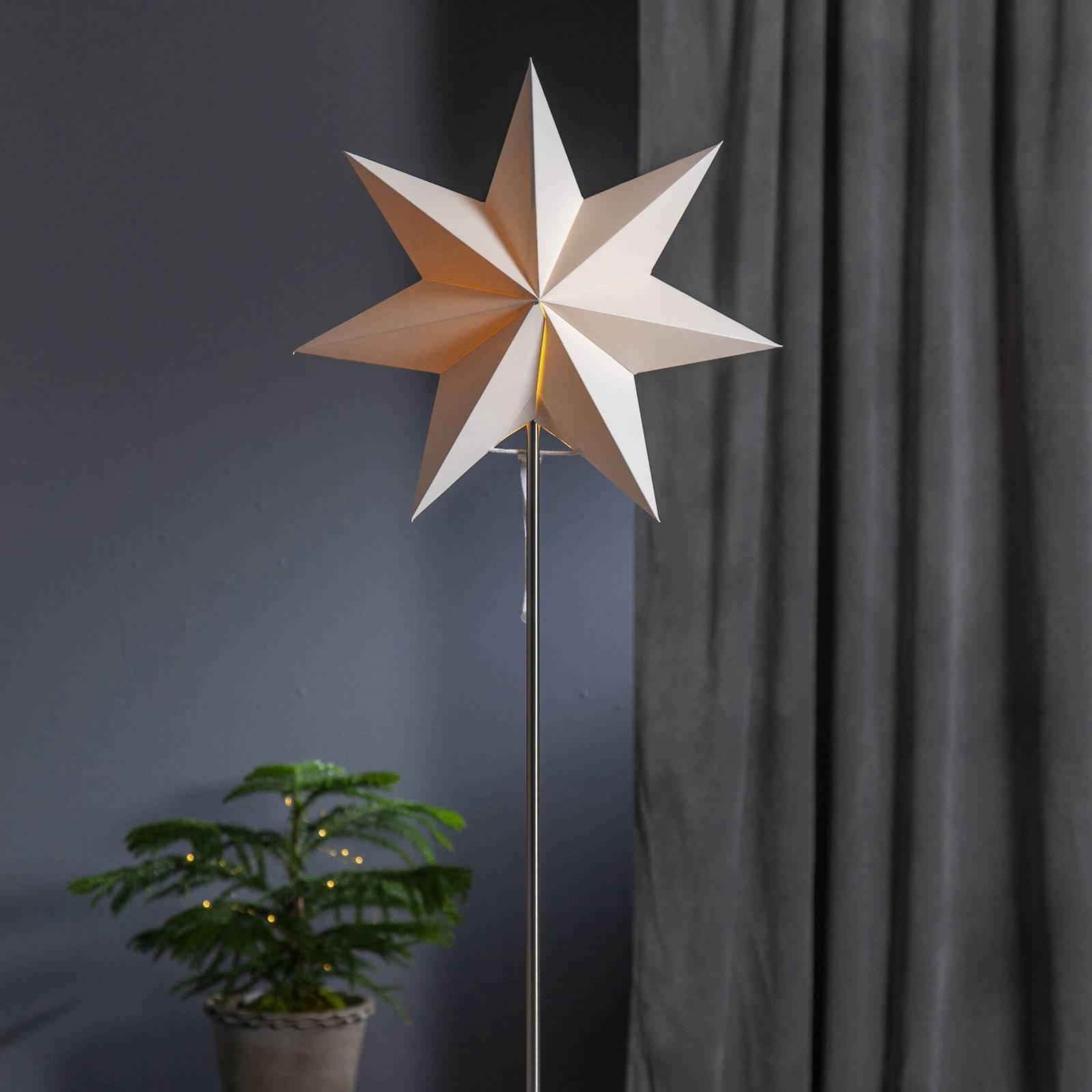 Moa-koristevalo, tähti + varjostin, valkoinen