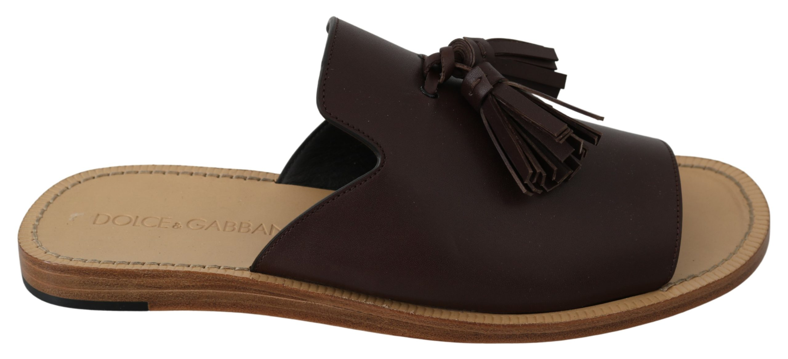Dolce & Gabbana Men's Leather Open Toe Slides Sandal Brown MV3015 - EU44/US11