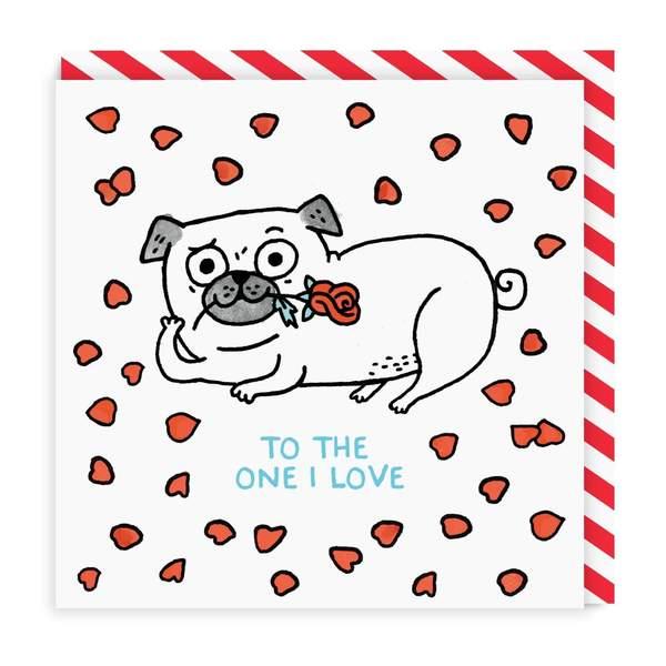 One I Love Pug Square Greeting Card