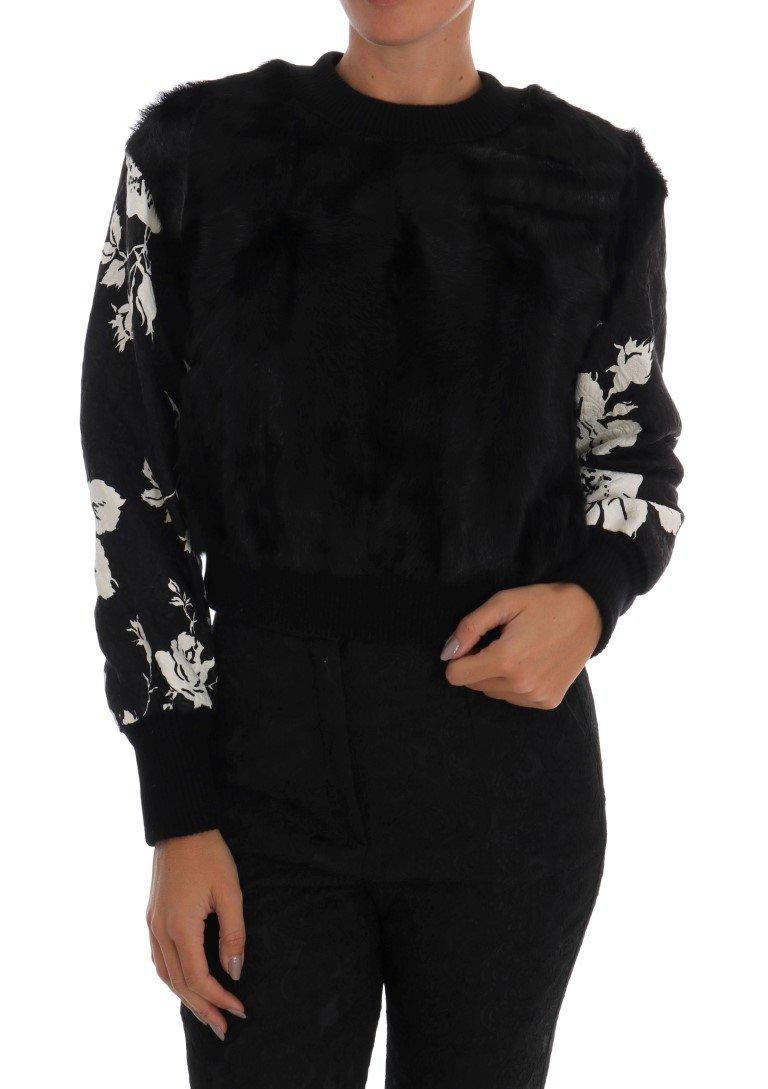 Dolce & Gabbana Women's Fur Floral Brocade Zipper Sweater Black JKT1047 - IT36 | XS