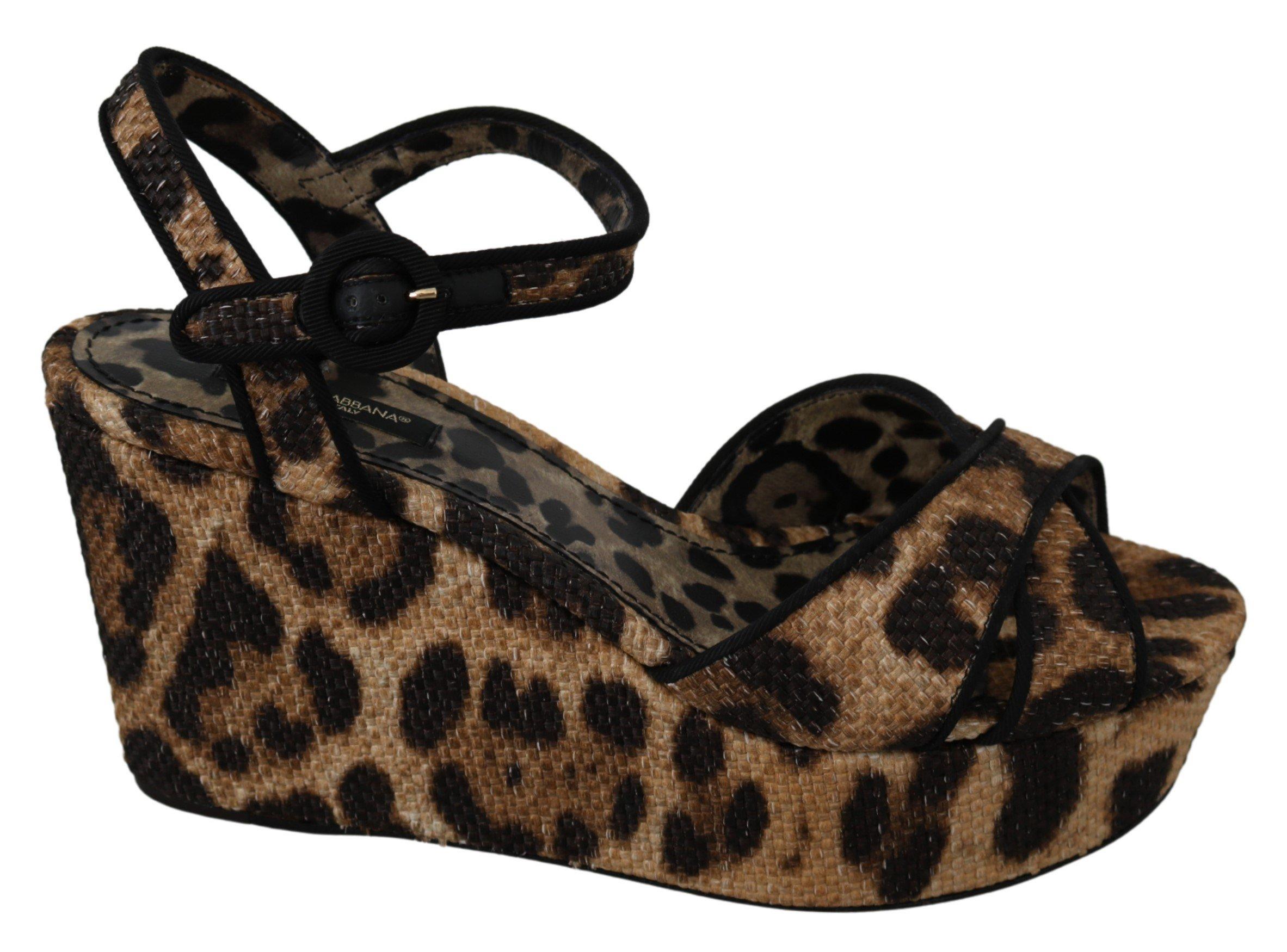 Dolce & Gabbana Women's Leopard Raffia Wedge Brown LA7321 - EU39/US8.5
