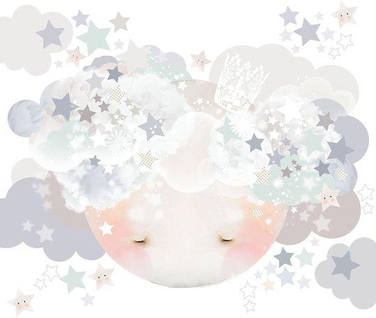 Schmooks Wallsticker Sleepy Moon, Blue