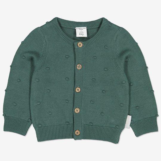 Strikket jakke med baller baby grønn