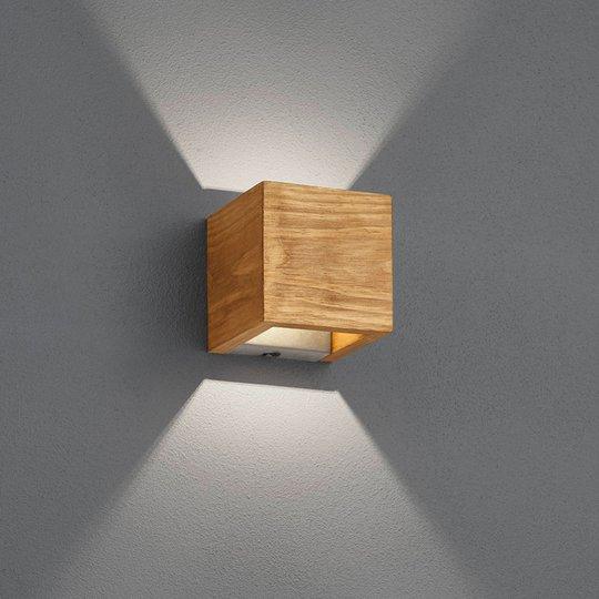 LED-vegglampe Brad av tre, up/down, 11x11 cm