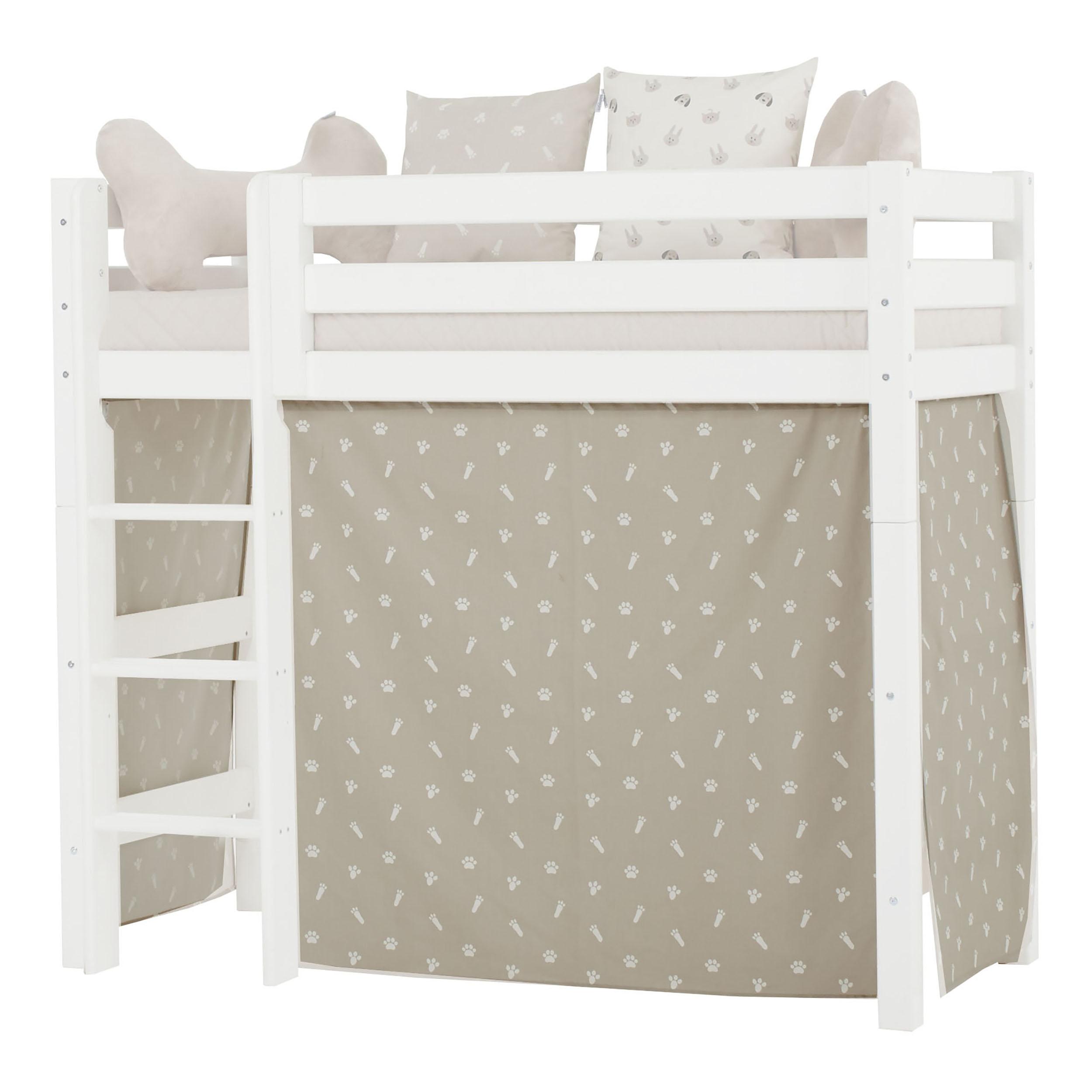 Hoppekids - Play Curtain Mid-High Bed 70x160 cm - Pets Silver Cloud