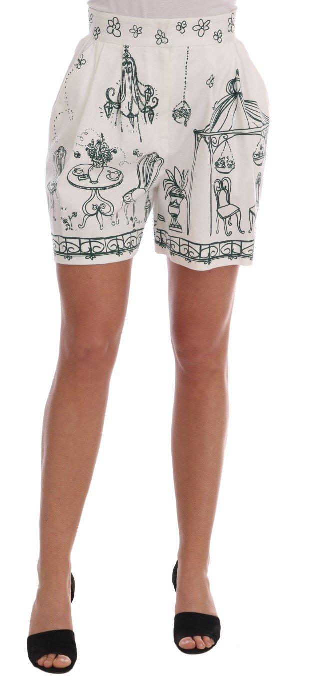 Dolce & Gabbana Women's Sicily Motive Print Shorts White BYX1215 - IT38 XS