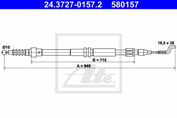 Käsijarruvaijeri ATE 24.3727-0157.2