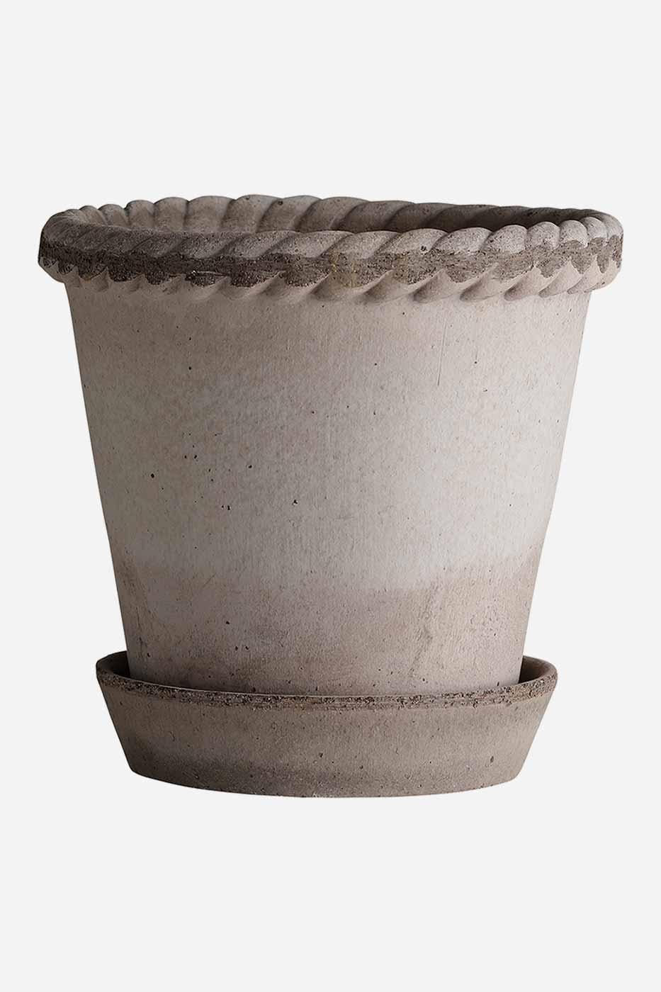 Kruka Emilia 35 cm grå inkl fat