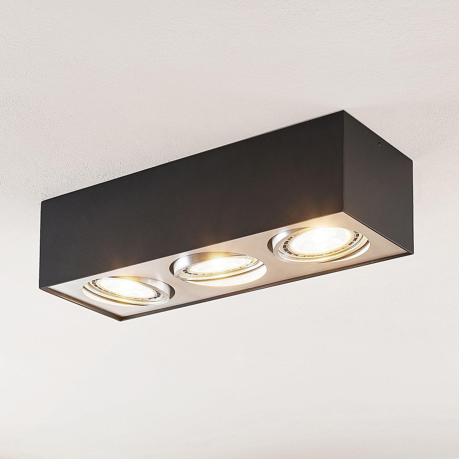 Arccio Dwight LED-taklampe i svart, 3 lyskilder