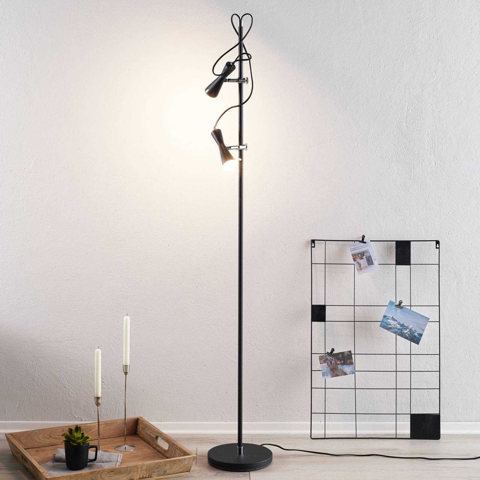 Tyylikäs LED-lattiavalaisin Move, 2-lamp., musta