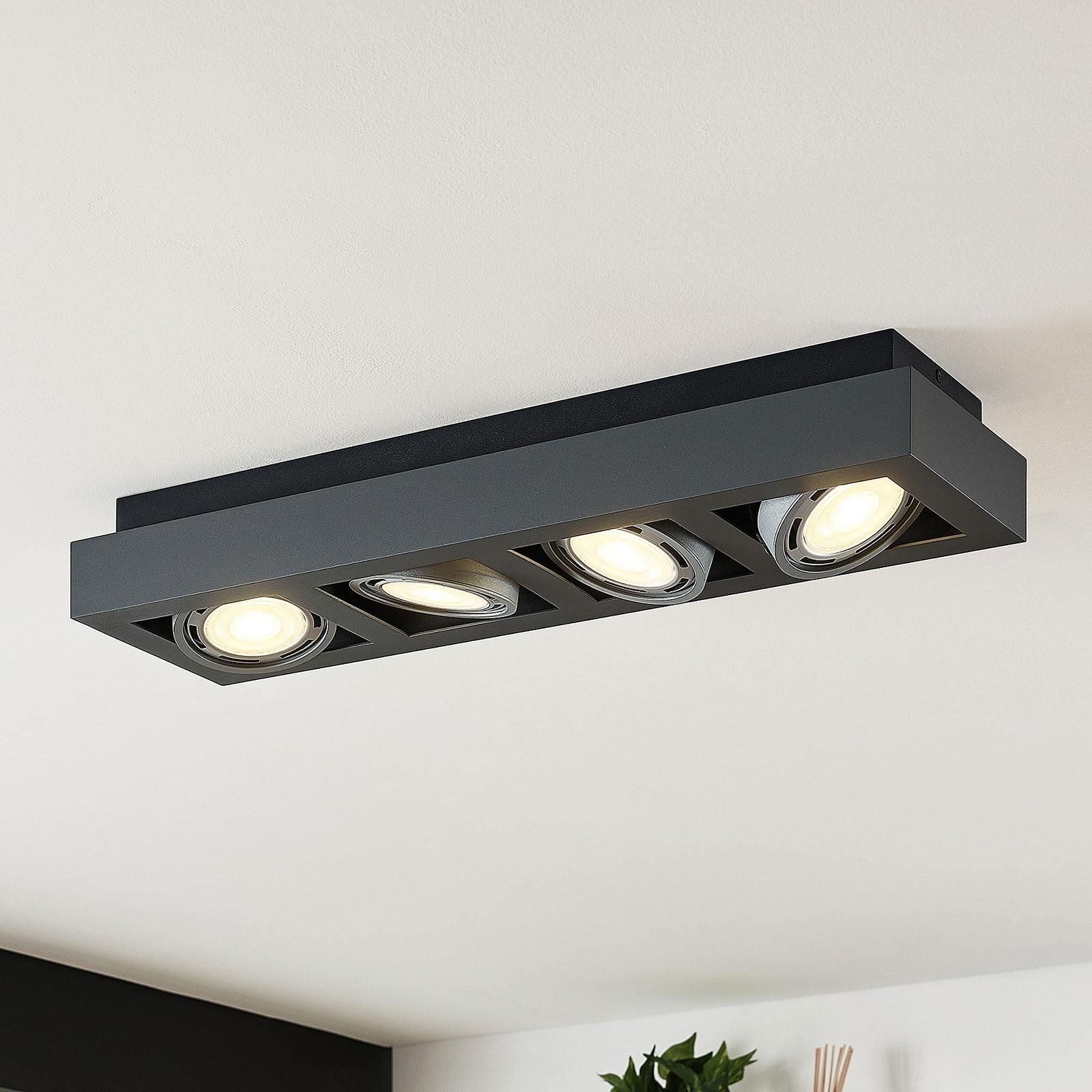 LED-kattokohdevalo Ronka, 4-lampp. pitkä harmaa