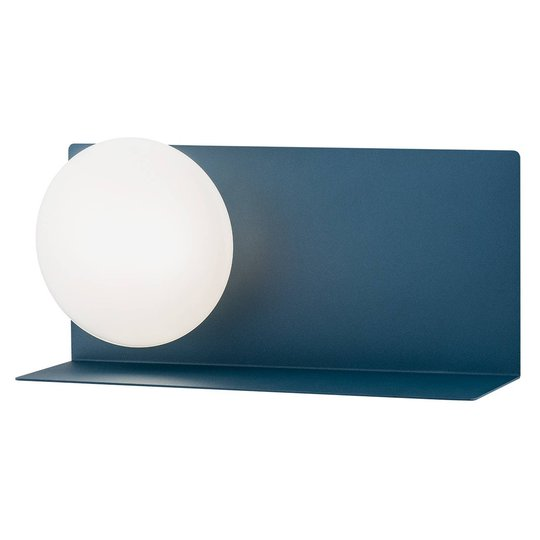 LED-vegglampe Clark med kuleglasskjerm, blå