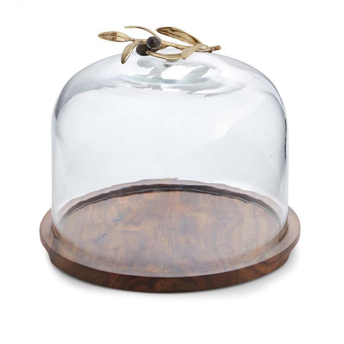 Michael Aram I Olive Branch Glass Dome w/ Wood Base