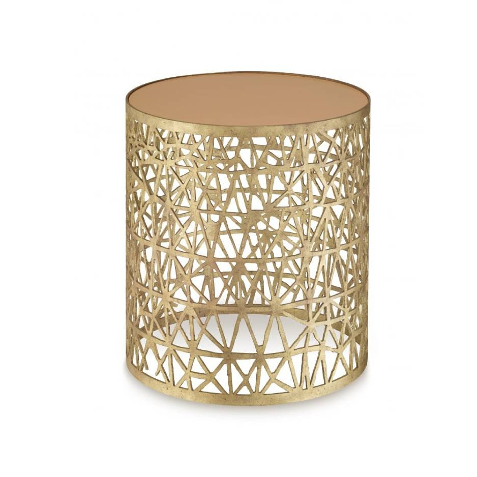 Porta Romana I Cocoon side table DECAYED GOLD WITH APRICOT GLASS