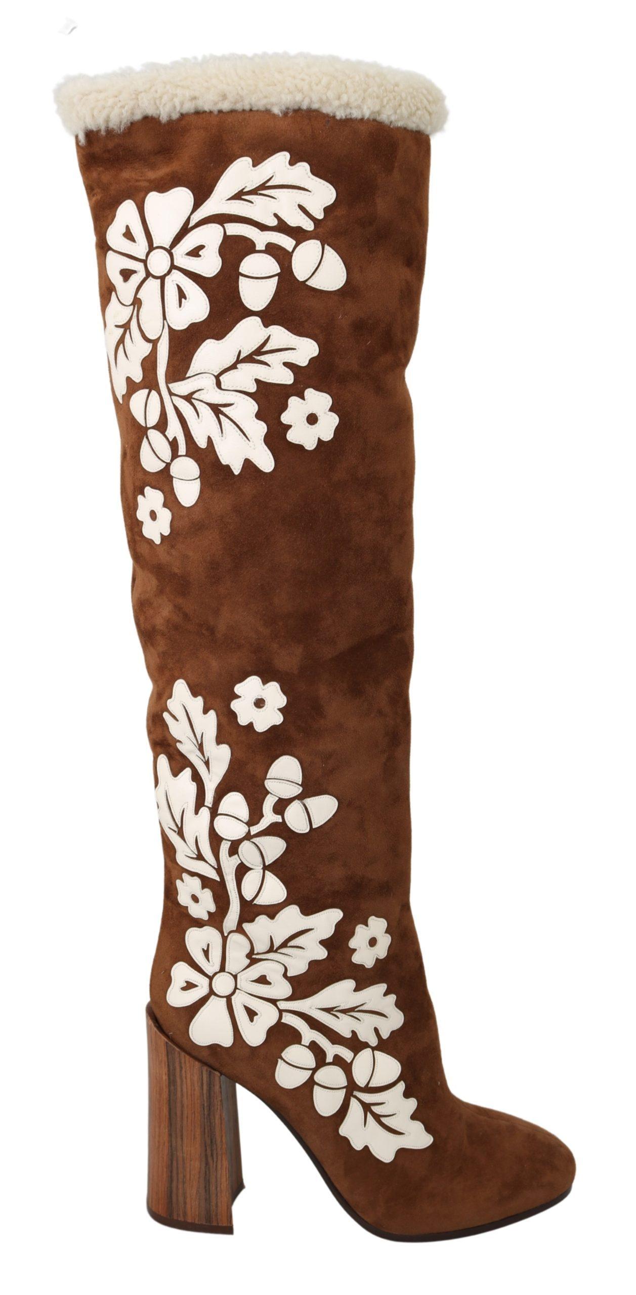 Dolce & Gabbana Women's Suede Floral Knee High Boot Brown LA7090 - EU39/US8.5