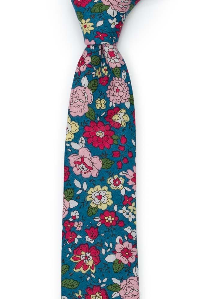 Bomull Smale Slips, Blomster i rødt, rosa, gult og mørk Bondi Blue