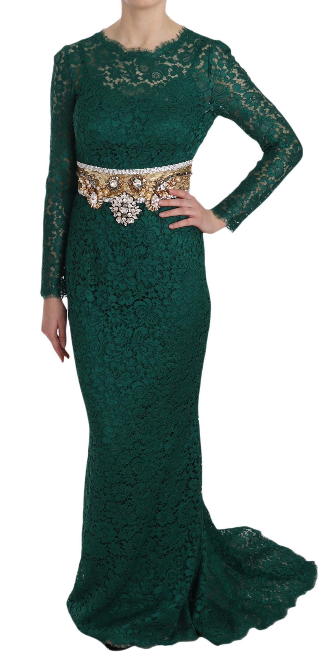 Dolce & Gabbana Women's Crystal Belt Lace Sheath Gown Dress Green DR1653 - IT42|M