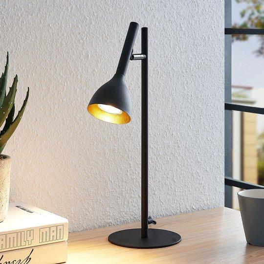 Bordlampe Nordwin i metall, svart/gull
