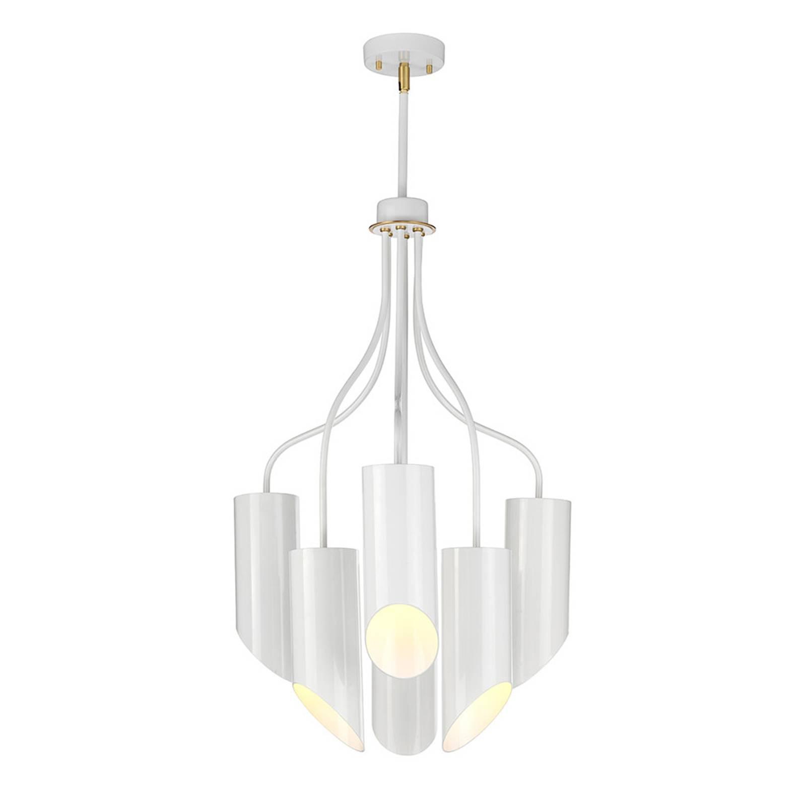 Riippuvalo Quinto 6-lamp, valkoinen/messinki