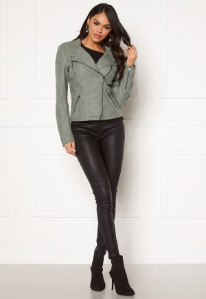 ONLY Ava Faux Leather Biker Chinois Green 34