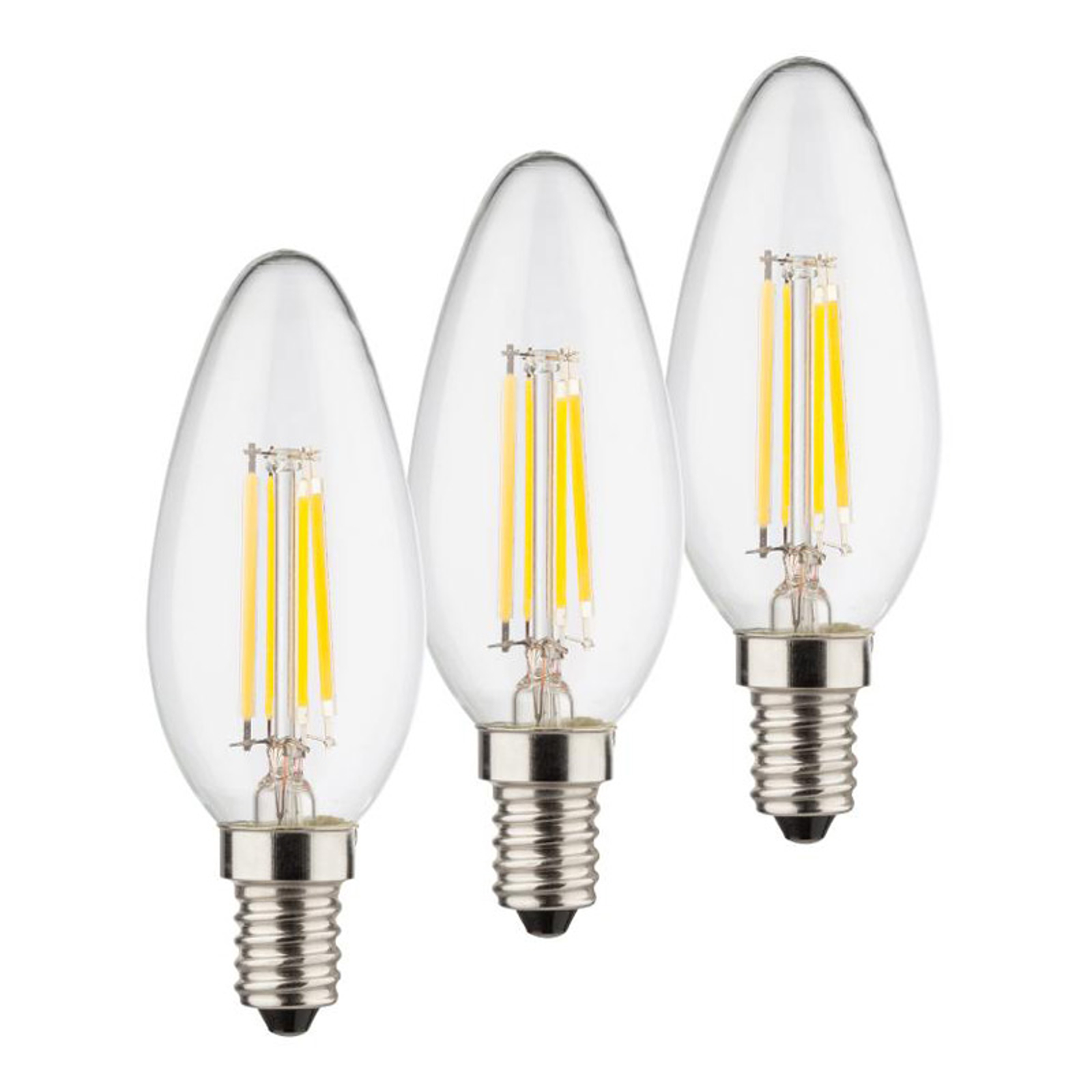 LED-kynttilälamppu E14 4W 2 700 K Filament 3 kpl