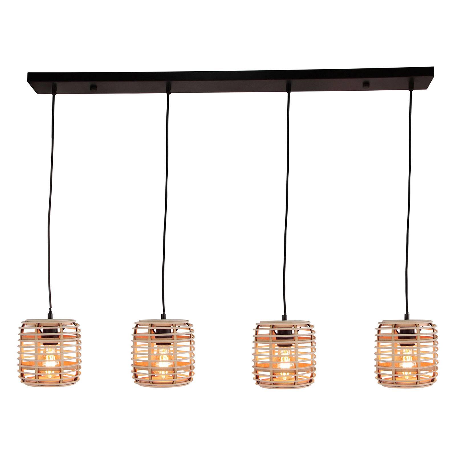 Riippuvalo Crosstown bambuvarjostin 4 lamppuinen