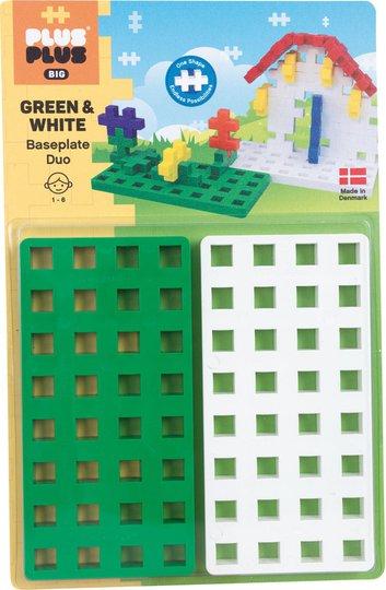 Plus-Plus BIG Baseplate 2 Stk, Hvit/Grønn