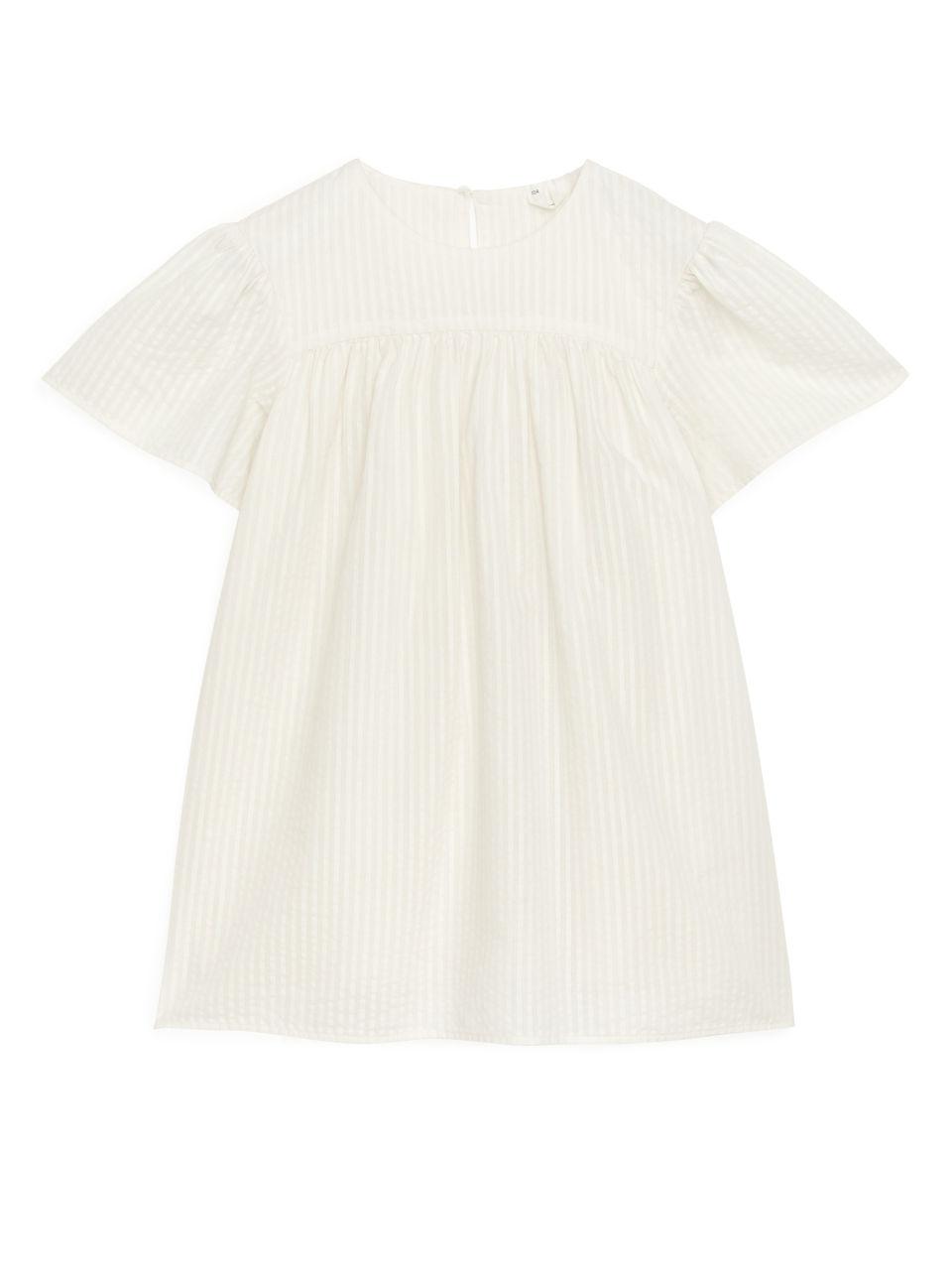 Voluminous Seersucker Dress - White