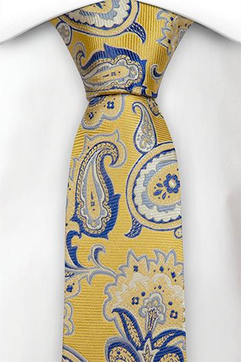 Silke Smale Slips, Stort gul og blå blomstermønster, nesten paisley