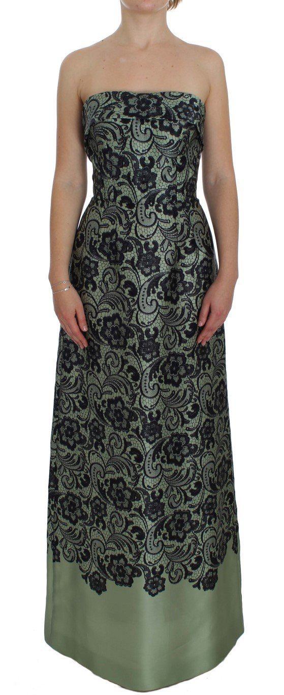 Dolce & Gabbana Women's Floral Lace Silk Corset Dress Green NOC10104 - IT40|S