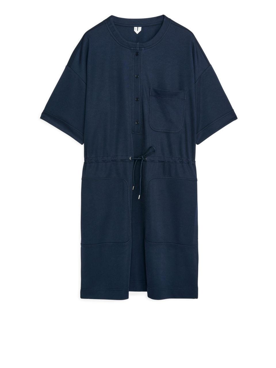 Short-Sleeved Jersey Dress - Blue