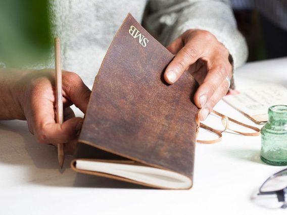 Leather Travel Journal Plain Medium