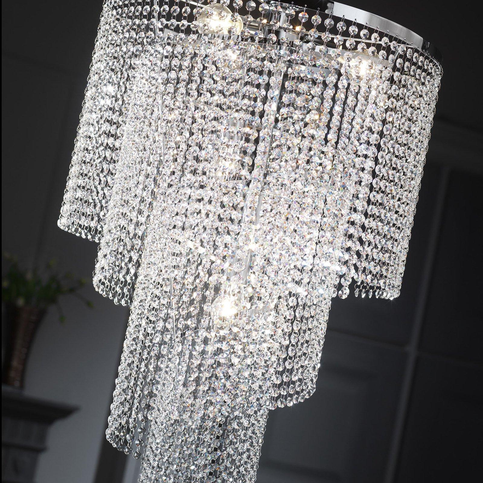 Taklampe Elica med krystallspiral, Ø 35cm