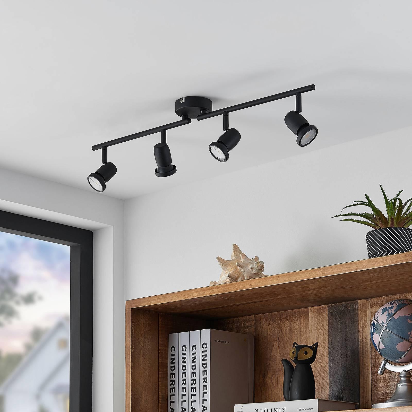 ELC Simano -LED-kattokohdevalo musta, 4-lamppuinen