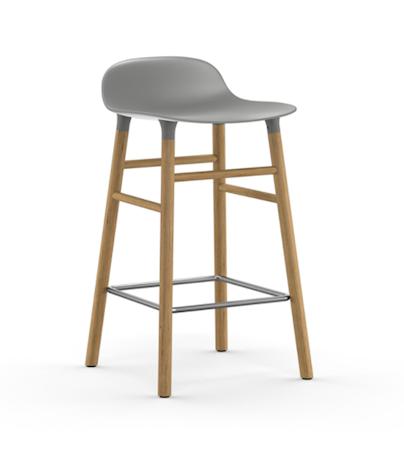 Form Barstol Grå/Eik 65 cm