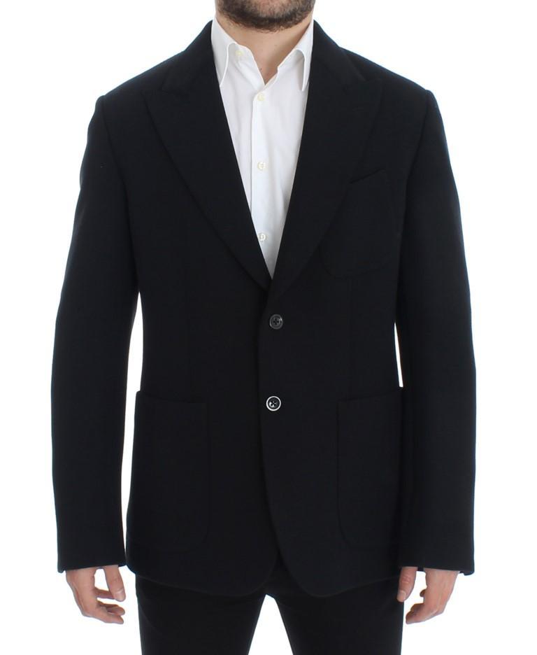 Dolce & Gabbana Men's Wool stretch two button Blazer Black SIG12296 - IT48   M